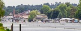Henley Royal Regatta 2013 (Monday): The final part of the HRR race course seen towards the finish, marked by the blue and white boxes on the left.. River Thames between Henley and Temple Island, Henley-on-Thames, Berkshire, United Kingdom, on 01 July 2013 at 14:42, image #19