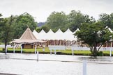 Henley Royal Regatta 2013 (Monday): Preparations for the regatta - Hospitality on the western (Phyllis Court) side of the Thames.. River Thames between Henley and Temple Island, Henley-on-Thames, Berkshire, United Kingdom, on 01 July 2013 at 15:36, image #40