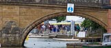 Henley Royal Regatta 2013 (Wednesday): The entrance to the boat tents area of the Henley Royal Regatta, seen trough the eastern arch of Henley Bridge.. River Thames between Henley and Temple Island, Henley-on-Thames, Berkshire, United Kingdom, on 03 July 2013 at 09:17, image #7