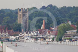 Henley Royal Regatta 2013, Saturday: Henley-on-Thames, with the church of St Mary, seen from .the start of the Henley Royal Regatta race course. Image #3, 06 July 2013 08:36 River Thames, Henley on Thames, UK