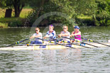 Henley Royal Regatta 2013, Saturday: The Leander Club and Minerva Bath Rowing Club coxless four during a training session in the morning. Image #18, 06 July 2013 08:47 River Thames, Henley on Thames, UK