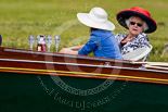 Henley Royal Regatta 2013, Saturday: Drinks (Hine Cognac), hats, and Henley Royal Regatta outfits on board the launch 'Fish Rising'. Image #188, 06 July 2013 11:13 River Thames, Henley on Thames, UK