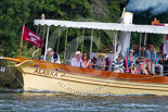 Henley Royal Regatta 2013, Saturday: Thames steamer 'Alaska' (www.thames-steamers.co.uk) passing the race course. Image #191, 06 July 2013 11:28 River Thames, Henley on Thames, UK