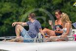 "Henley Royal Regatta 2013, Saturday: Pleasure boat ""Tango 1"" passing the Henley Royal Regatta race course. Image #272, 06 July 2013 12:06 River Thames, Henley on Thames, UK"