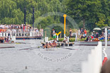 Henley Royal Regatta 2013, Saturday: Looking up to the start of the race course to the stake boats, umpire launches, and a passing paddle steamer packed with spectators. Image #296, 06 July 2013 12:21 River Thames, Henley on Thames, UK
