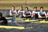 The Boat Race season 2012 - fixture OUBC vs German U23: In white the crew of the German U23 boat, from left to right Bow Maximilian Johanning, Rene Stüven, Robin Ponte, Alexander Thierfelder, and Malte Jakschik.. River Thames between Putney and Mortlake, London,  United Kingdom, on 26 February 2012 at 15:26, image #50