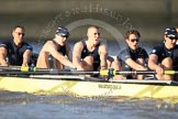The Boat Race season 2012 - fixture OUBC vs German U23: The Oxford Blue Boat - from left to right Dr. Hanno Wienhausen, Karl Hudspith, Alex Davidson, Dan Harvey, and stern Roel Haen.. River Thames between Putney and Mortlake, London,  United Kingdom, on 26 February 2012 at 15:26, image #54