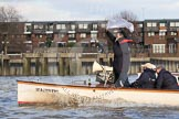 "The Boat Race season 2012 - fixture OUBC vs German U23: Boat Race Umpire Rob Clegg on board of the Thames launch ""Majestic"".. River Thames between Putney and Mortlake, London,  United Kingdom, on 26 February 2012 at 15:30, image #68"