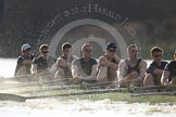 The Boat Race season 2012 - fixture OUBC vs German U23: Approaching the finish line of the second race, the Oxford Blue Boat, from left to right bow Dr. Alexander Woods, Geordie MacLeod, Kevin Baum, Dr. Hanno Wienhausen, Karl Hudspith, Alex Davidson, and Dan Harvey.. River Thames between Putney and Mortlake, London,  United Kingdom, on 26 February 2012 at 15:46, image #91