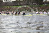 The Boat Race season 2012 - fixture OUBC vs German U23: After winning the second race - the Oxford Blue Boat in front, the German U23 boat behind, at Mortlake.. River Thames between Putney and Mortlake, London,  United Kingdom, on 26 February 2012 at 15:52, image #104