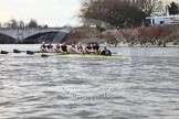 The Boat Race season 2012 - fixture OUBC vs German U23: Oxford Blue Boat after winning the second race from Chiswick Eyot to The Boat Race finish at Mortlake. In the background Chiswick Bridge.. River Thames between Putney and Mortlake, London,  United Kingdom, on 26 February 2012 at 15:53, image #105