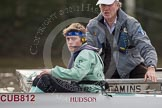 The Boat Race season 2012 - fixture CUBC vs Leander: Before the start of the race: CUBC Blue Boat Cox Ed Bosson and CUBC Honorary Treasurer Robin Waterer.. River Thames between Putney and Molesey, London, Greater London, United Kingdom, on 10 March 2012 at 14:06, image #73