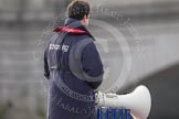 The Boat Race season 2012 - fixture CUBC vs Leander: The 2012 Boat Race umpire John Garrett,  (Cambridge Blue 1983-85), about to start the race.. River Thames between Putney and Molesey, London, Greater London, United Kingdom, on 10 March 2012 at 14:11, image #87
