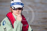 The Boat Race season 2012 - fixture CUBC vs Leander: Close-up of the CUBC Goldie cox Sarah Smart.. River Thames between Putney and Molesey, London, Greater London, United Kingdom, on 10 March 2012 at 14:52, image #158