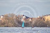 The Boat Race season 2012 - fixture CUBC vs Leander: Looking towards the West from Putney Embankment. In the background the arch of the new Wembley Arena.. River Thames between Putney and Molesey, London, Greater London, United Kingdom, on 10 March 2012 at 15:04, image #164