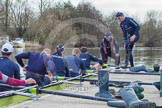 The Boat Race season 2012 - OUBC training: 3 seat Kevin Baum, 4 Alexander Davidson, 5 Karl Hudspith, 6 Dr. Hanno Wienhausen, 7 Dan Harvey, stroke Roel Haen, and cox Zoe de Toledo..   Oxfordshire, United Kingdom, on 20 March 2012 at 15:00, image #16