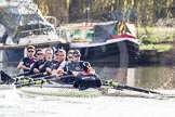 The Boat Race season 2012 - OUBC training: Bow Dr. Alexander Woods, 2 William Zeng, 3 Kevin Baum, 4 Alexander Davidson, 5 Karl Hudspith, 6 Dr. Hanno Wienhausen, 7 Dan Harvey, stroke Roel Haen, and cox Zoe de Toledo..   Oxfordshire, United Kingdom, on 20 March 2012 at 15:35, image #46