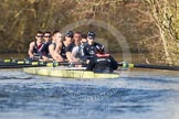 The Boat Race season 2012 - OUBC training: Bow Dr. Alexander Woods, 2 William Zeng, 3 Kevin Baum, 4 Alexander Davidson, 5 Karl Hudspith, 6 Dr. Hanno Wienhausen, 7 Dan Harvey, stroke Roel Haen, and cox Zoe de Toledo..   Oxfordshire, United Kingdom, on 20 March 2012 at 15:54, image #57