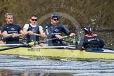 The Boat Race season 2012 - OUBC training: 6 Dr. Hanno Wienhausen, 7 Dan Harvey, stroke Roel Haen, and cox Zoe de Toledo..   Oxfordshire, United Kingdom, on 20 March 2012 at 16:07, image #93