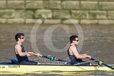 The Boat Race season 2012 - fixture OUBC vs Leander: OUBC's Blue Boat, here bowman Dr. Alexander Woods and William Zeng..     on 24 March 2012 at 14:29, image #110