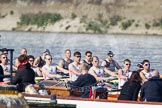 The Boat Race season 2012 - fixture OUBC vs Leander: OUBC Blue Boat in the lead - 2 William Zeng, 3 Kevin Baum, 4 Alexander Davidson, 5 Karl Hudspith, 6 Dr. Hanno Wienhausen, 7 Dan Harvey, stroke Roel Haen, cox Zoe de Toledo, in the Leander boat bow Nathan Hillyer, Chris Friend, Will Gray, Sam Whittaker, Tom Clark, John Clay, Cameron MacRitchie, stroke Vasillis Ragoussis, and cox Katie Klavenes..     on 24 March 2012 at 14:30, image #122
