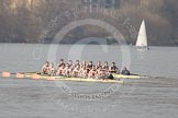 The Boat Race season 2012 - fixture OUBC vs Leander: OUBC Blue Boat in the lead - 2 William Zeng, 3 Kevin Baum, 4 Alexander Davidson, 5 Karl Hudspith, 6 Dr. Hanno Wienhausen, 7 Dan Harvey, stroke Roel Haen, cox Zoe de Toledo, in the Leander boat bow Nathan Hillyer, Chris Friend, Will Gray, Sam Whittaker, Tom Clark, John Clay, Cameron MacRitchie, stroke Vasillis Ragoussis, and cox Katie Klavenes..     on 24 March 2012 at 14:30, image #126