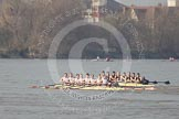 The Boat Race season 2012 - fixture OUBC vs Leander: OUBC Blue Boat in the lead - 2 William Zeng, 3 Kevin Baum, 4 Alexander Davidson, 5 Karl Hudspith, 6 Dr. Hanno Wienhausen, 7 Dan Harvey, stroke Roel Haen, cox Zoe de Toledo, in the Leander boat bow Nathan Hillyer, Chris Friend, Will Gray, Sam Whittaker, Tom Clark, John Clay, Cameron MacRitchie, stroke Vasillis Ragoussis, and cox Katie Klavenes..     on 24 March 2012 at 14:30, image #127