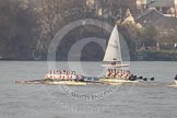 The Boat Race season 2012 - fixture OUBC vs Leander: The Leander Club Eight, on the left, racing the OUBC Blue Boat, approaching the Mile Post..     on 24 March 2012 at 14:30, image #129
