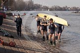 The Boat Race season 2012 - fixture OUBC vs Leander: The OUBC Isis squad returning from their fixture against Tideway Scullers. On the left cox Katherine Apfelbaum, carrying the boat are Tom Hilton, Chris Fairweather, Julian Bubb-Humfryes, Ben Snodin, Joe Dawson, Geordie Macleod, Justin Webb, and Tom Watson..     on 24 March 2012 at 14:58, image #154