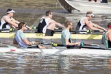The Boat Race season 2012 - fixture CUBC vs Molesey BC: In the CUBC Blue Boat, racing Molesey BC, here bow David Nelson, Moritz Schramm, and Jack Lindeman..     on 25 March 2012 at 15:19, image #119