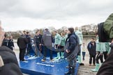 The Boat Race 2012: The Oxford University Isis squad, on the left, and the Cambridge Goldie squad, getting ready for the toss of the coin..     on 07 April 2012 at 12:18, image #37