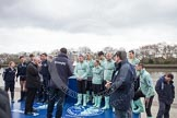 The Boat Race 2012: The Oxford University Isis squad, on the left, and the Cambridge Goldie squad, getting ready for the toss of the coin..     on 07 April 2012 at 12:19, image #38