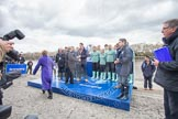 The Boat Race 2012: The Oxford University Isis squad, on the left, and the Cambridge Goldie squad, just before the toss of the coin. In front BBC presenter Clare Balding..     on 07 April 2012 at 12:19, image #39