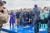 The Boat Race 2012: The Oxford University Isis squad, on the left, and the Cambridge Goldie squad, at the toss of the coin. On the left BBC presenter Clare Balding..     on 07 April 2012 at 12:20, image #40