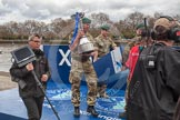 The Boat Race 2012: The Boat Race Trophy on the move from Putney, the start of the Boat Race, to Mortlake, the race finish. The trophy is moved on the Thames by members of the Terretorial Army..     on 07 April 2012 at 12:34, image #54
