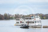 The Boat Race 2012: Setting the scene for the 2012 Boat Race: Middlesex bend on the Thames, with the arch of the new Wembley Stadium in the background, an a Metropolitan Police boat in front of the Thames cruisers..     on 07 April 2012 at 12:38, image #55