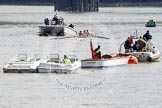 The Boat Race 2012: Adaptive Race: The Adaptive Four, just before the start. Cox Lily van den Broecke, bow Pamela Relph, two Naomi Riches, three David Smith, and stroke James Roe. Next to them the boat with the race umpire and BBC camera crew..     on 07 April 2012 at 12:47, image #60