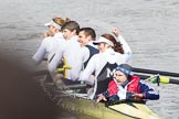 The Boat Race 2012: After the Adaptive Race: The Start Four, cox Henry Fieldman, bow Olivia Marshall, two Will King, three Ben Jackson, and stroke Catie Sharrod..     on 07 April 2012 at 12:51, image #96