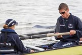 The Boat Race 2012: The ISIS crew getting ready for the Boat Race against the Cambridge reserve boat Goldie: Cox Katherine Apfelbaum, stroke Tom Watson..     on 07 April 2012 at 13:05, image #114