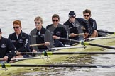 The Boat Race 2012: The ISIS crew getting ready for the Boat Race against the Cambridge reserve boat Goldie: Geordie Macleod, Joseph Dawson, Ben Snodin, Julian Bubb-Humfryes, Chris Fairweather, and bow Thomas Hilton..     on 07 April 2012 at 13:06, image #117