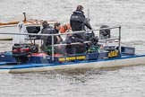 The Boat Race 2012: Setting the scene for the 2012 Boat Race:  One of the two boats used by BBC Sport/SIS. In front of the boat a ball shaped, gyro stabilzed specialist TV camera..     on 07 April 2012 at 13:12, image #119