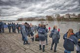 The Boat Race 2012: Waiting to get on board of one of the boats of the flotilla that will follow the Boat Race - members of the media, and officials..     on 07 April 2012 at 13:13, image #120