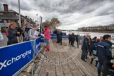 The Boat Race 2012: Putney Embankment before the Boat Race: Waiting to get on board of one of the boats of the flotilla that will follow the Boat Race - members of the media, and officials..     on 07 April 2012 at 13:13, image #121