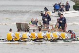 The Boat Race 2012: The start of the Goldie/Isis race. In the Cambridge reserve boat bow Josh Pendry, Rowan Lawson, Peter Dewhurst, Tom Haworth, Hank Moore, Joel Jennings, Phil Williams,  Felix Wood, cox Sarah Smart, behind umpire John Garret. Behind umpire John Garret..     on 07 April 2012 at 13:46, image #159