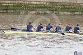 The Boat Race 2012: Isis, the Oxford reserve boat, leading the Isis/Goldie Boat Race. Bow Thomas Hilton, Chris Fairweather, Julian Bubb-Humfryes, Ben Snodin, Joseph Dawson, and Geordie Macleod..     on 07 April 2012 at 13:46, image #161