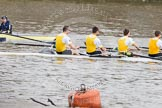 The Boat Race 2012: The Cambridge reserve boat Goldie in the Boat Race with the Oxford boat Isis. Bow Josh Pendry, Rowan Lawson, Peter Dewhurst, and Tom Haworth. In Isis cox Katherine Apfelbaum..     on 07 April 2012 at 13:46, image #163