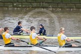 The Boat Race 2012: The Goldie/Isis Boat Race: Justin Webb, stroke Tom Watson, and cox Katherine Apfelbaum in the Oxford reserve boat, Tom Havorth, Hank Moore, and Joel Jennings in Goldie..     on 07 April 2012 at 13:46, image #167