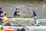The Boat Race 2012: The Goldie/Isis Boat Race: Justin Webb, stroke Tom Watson, and cox Katherine Apfelbaum in the Oxford reserve boat, stroke Felix Wood and cox Sarah Smart in Goldie..     on 07 April 2012 at 13:46, image #169