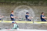 The Boat Race 2012: The Goldie/Isis Boat Race: Joseph Dawson, Geordie Macleod, and Justin Webb in the Oxford reserve boat, cox Sarah Smart in Goldie..     on 07 April 2012 at 13:46, image #171