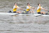 The Boat Race 2012: The Goldie/Isis Boat Race: Bow Josh Pendry, Rowan Lawson, and Peter Dewhurst in Goldie, the Cambridge reserve boat..     on 07 April 2012 at 13:46, image #172